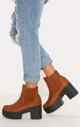 PrettyLittleThing Camel Elasticated Side Ankle Boot