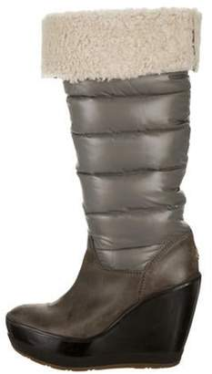 Moncler Quilted Wedge Boots grey Quilted Wedge Boots