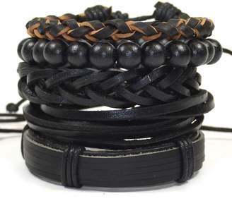 Tag Twenty Two 5 Pack Leather and Wood Fashion Bracelet Set // Instinct