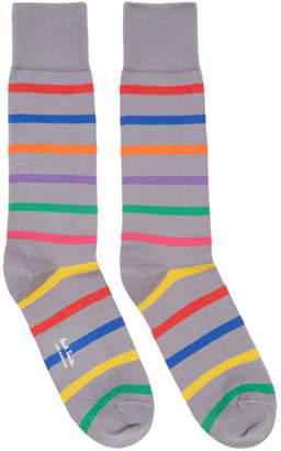 Paul Smith Grey Bright Stripe Socks