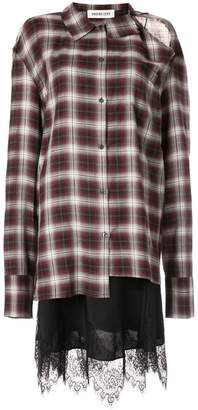 Ground Zero cut-out checked shirt