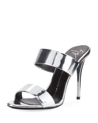 Giuseppe Zanotti Metallic Slide High-Heel Sandal, Gray $429 thestylecure.com
