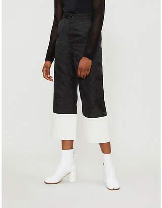 Mo&Co. Wide-leg turn-up jacquard trousers