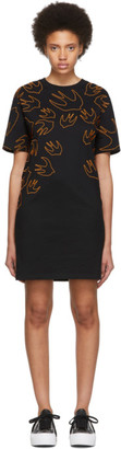 McQ Black and Orange Embroidered Swallow Signature T-Shirt Dress
