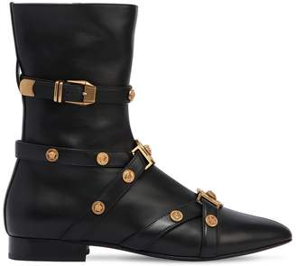 Versace 10mm Studded Leather Ankle Boots