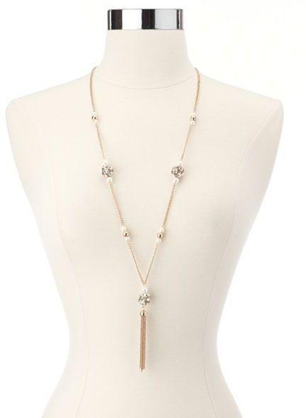Charlotte Russe Dangling Fireball Tassel Necklace