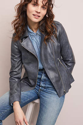Anthropologie Peplum Faux Leather Moto Jacket
