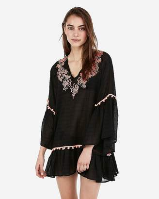Express Floral Embroidered Pom Tunic Swim Cover-Up