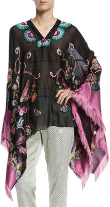 Etro Fringe-Trim Embroidered Silk-Chiffon Poncho