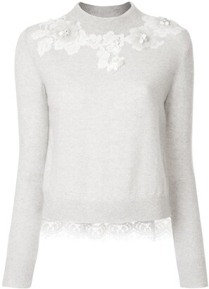 Onefifteen floral lace patch sweater