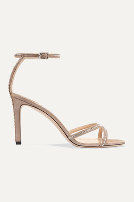Jimmy Choo Lydia 85 Crystal-embellished Metallic Suede Sandals - Neutral