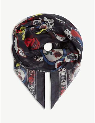 Alexander McQueen Skull badge modal-silk blend scarf