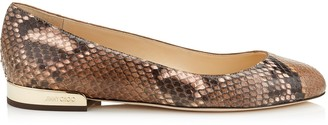 Jimmy Choo JESSIE FLAT Nutmeg and Rosewater Degrade Painted Python Round Toe Pumps
