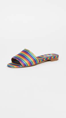 Tabitha Simmons Rainbow Stripe Slides