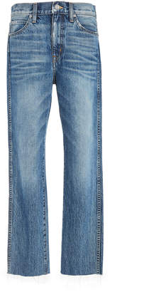 SLVRLAKE Denim Hero Cropped Raw Hem Mid-Rise Straight-Leg Jeans