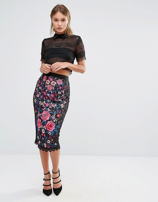 Oasis Embroidered Lace Pencil Skirt $113 thestylecure.com