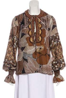 Andrew Gn Embellished Long Sleeve Blouse