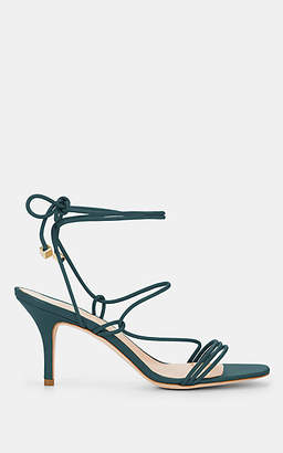 Barneys New York Women's Selva Leather Ankle-Tie Sandals - Navy