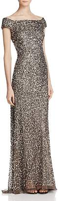 Adrianna Papell Off-The-Shoulder Beaded Gown $299 thestylecure.com