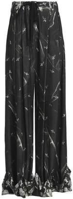 Ann Demeulemeester Printed Woven Wide-Leg Pants
