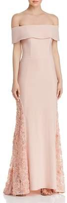 Aqua Off-the-Shoulder Lace-Inset Gown - 100% Exclusive