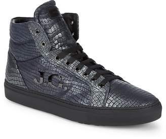 John Galliano Men's Hi-Top Leather Logo Sneakers