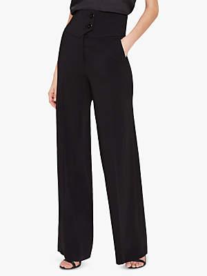 Lelis Wide Leg Tux Trousers, Black