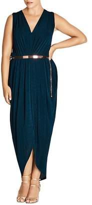 City Chic Plus Pleated Velvet Maxi Dress