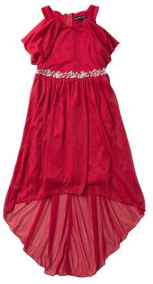 My Michelle mymichelle Off-the-Shoulder Sparkle Hi-Lo Dress with Embellished Waist (Big Girls)