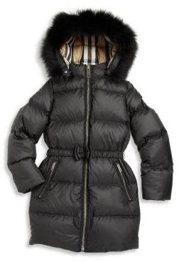 Burberry Little Girl's & Girl's Consilla Fox Fur-Trim Down Puffer Jacket $595 thestylecure.com