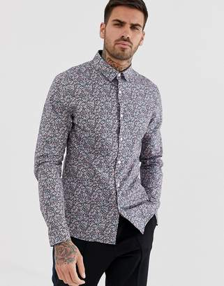 Asos Design DESIGN stretch slim ditsy print shirt