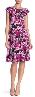 Robbie Bee Floral Cap Sleeve Fit & Flare Dress