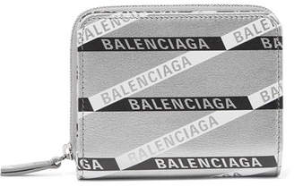 Balenciaga Everyday Printed Metallic Textured-leather Wallet - Silver