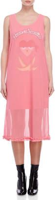 Love Moschino Pink Graphic Mesh Maxi Dress