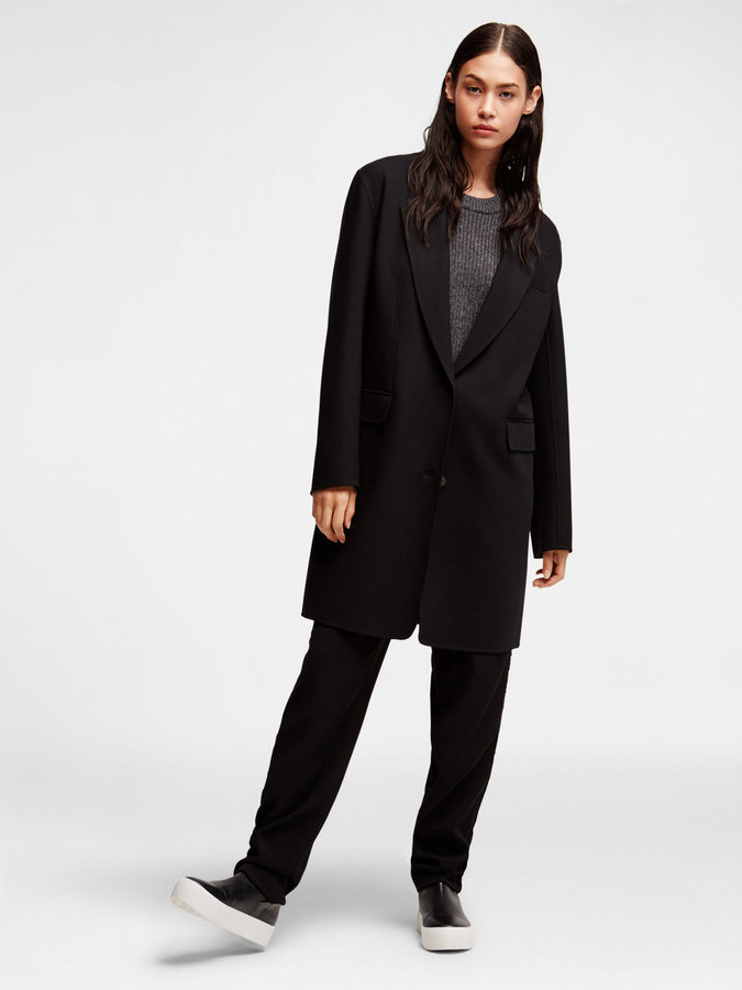 DKNYWool Notch Collar Coat