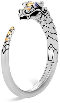 John Hardy Brushed 18K Yellow Gold and Sterling Silver Legends Naga Small Kick Cuff with Sapphire Eyes