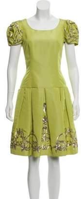 Oscar de la Renta Silk Cocktail Dress w/ Tags Chartreuse Silk Cocktail Dress w/ Tags