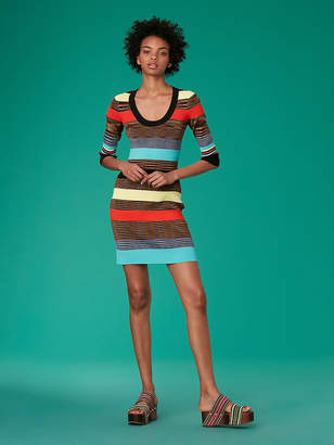 Diane von Furstenberg Scoop Neck Ribbed Sweater Dress