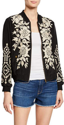 Johnny Was Mela Floral-Embroidered Silk Bomber Jacket