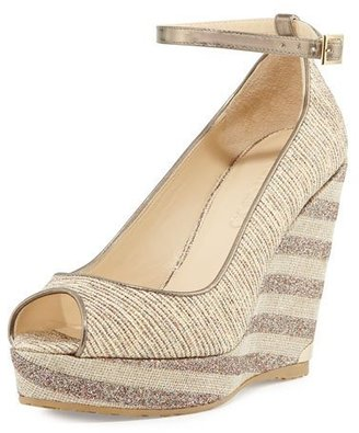 Jimmy Choo Pacific 120mm Peep-Toe Wedge Pump, Natural/Multi $525 thestylecure.com