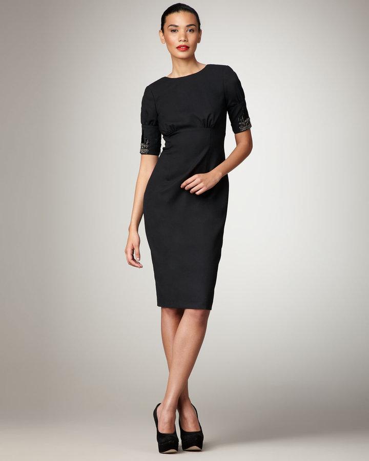Magaschoni Bead-Sleeve Sheath Dress