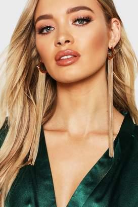 boohoo Hoop Extra Long Chain Tassel Earrings