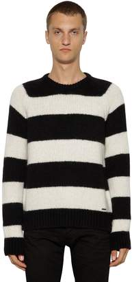 DSQUARED2 Striped Wool Blend Knit Sweater