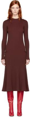 Victoria Beckham Burgundy Wool Rib Dress