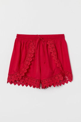 H&M Lace-trimmed Shorts - Red