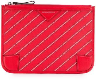 Karl Lagerfeld striped logo pouch