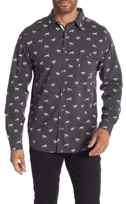Straight Faded Horse Print Long Sleeve Modern Fit Shirt