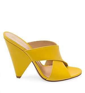 Gianvito Rossi Women's Triangle-Heel Leather Mules