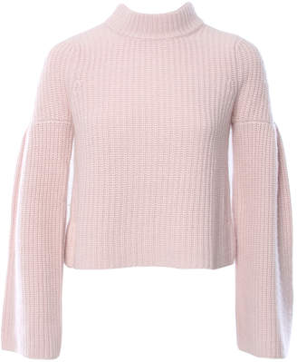 Autumn Cashmere Cropped Mock Neck Sweater With Trumpet Sleeve