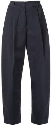 YMC cropped high-waisted trousers